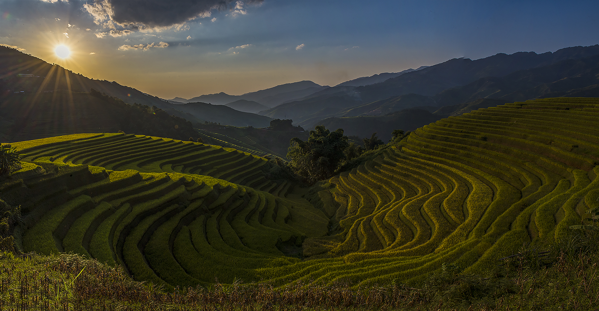 Sunset over the rice terraces