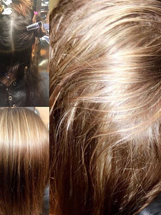 Root retouch and full head of highlights