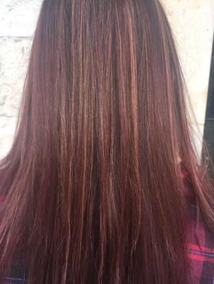 blond hightlights on brown/red color