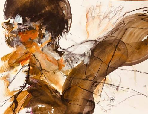 Femme en mouvement - Nu | Jozefa peintures