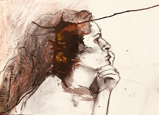 Une pensive   Jozefa peintures