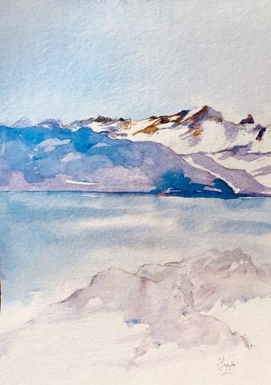 Mont Blanc vue de Morges | Jozefa peintures