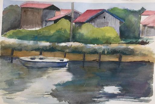 paysage bord du lac   Jozefa peintures