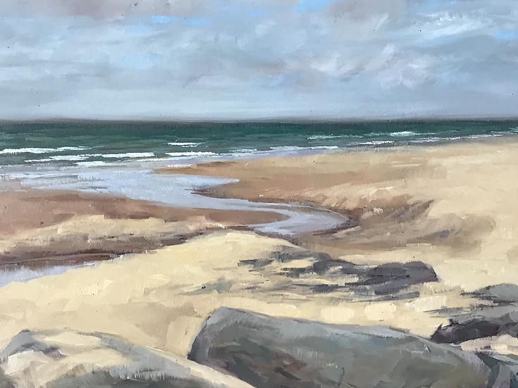 Wissant beach receding tide