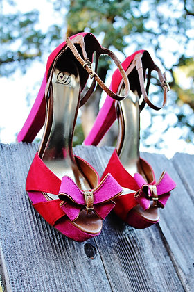 Red & Pink Suede bow heels