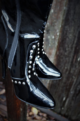 Studded knee high black boots