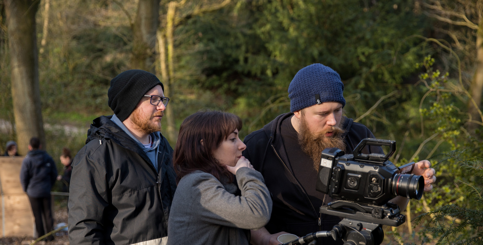 The crew filming Lepidopterist