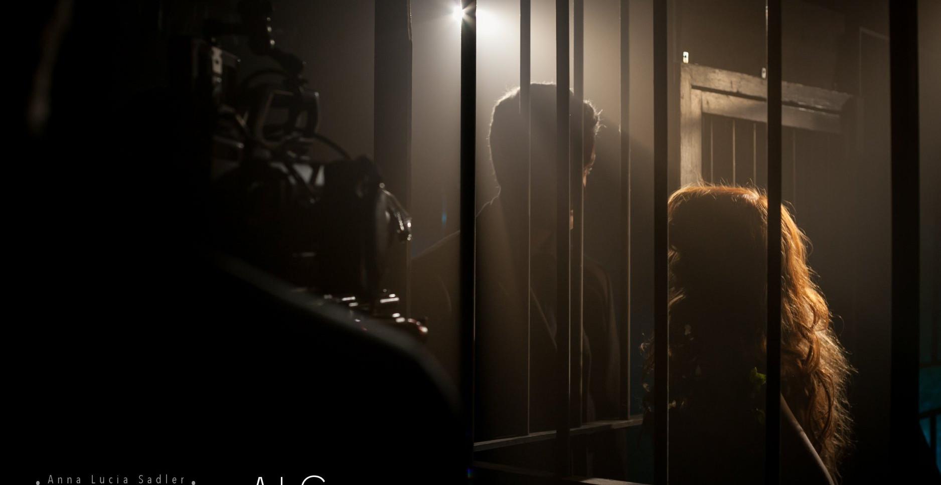 Robert Dukes & Aislinn De'Ath on the set of Growing Shadows