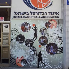 מיתוג משרדי איגוד הכדורסל,  עיצוב שלט כניסה  אפריל 2012