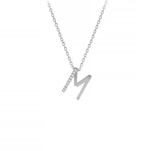 M harfi beyaz altın kolye