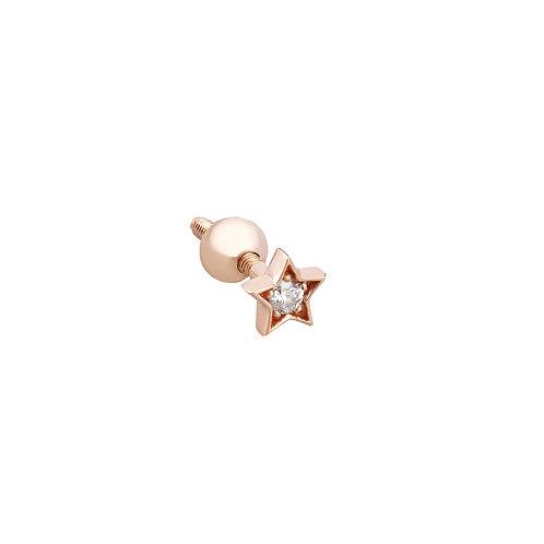 Tek taşlı yıldız piercing