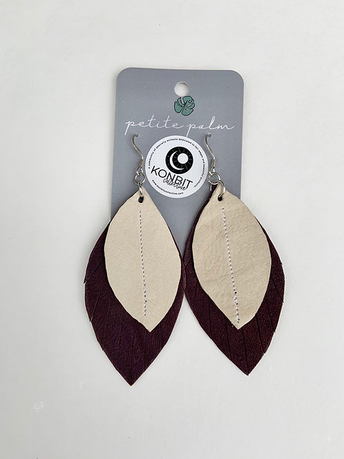 Petite Palm Two-Tone Feather Earrings (Plum)