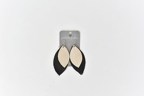 Petite Palm Two Tone Leather Earrings, Charcoal
