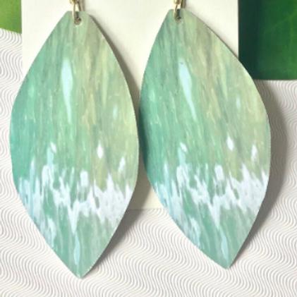 Haitian Tin Earrings + Printed Photo, Skipping Rocks