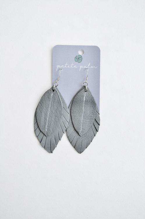Petite Palm Single Tone Feather Earrings (Grey)