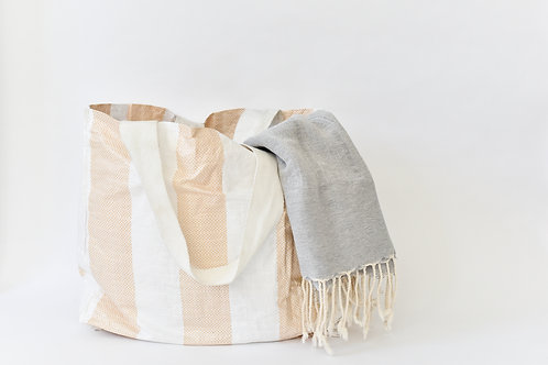 Upcycled Tote-Yellow + White Stripe