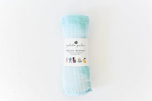Petite Palm Muslin Blanket, Mint