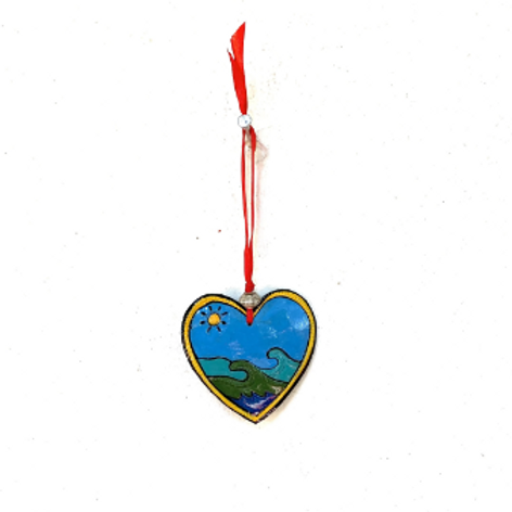 Painted Blue Heart Ornament- Preorder