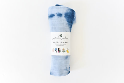 Petite Palm Muslin Blanket, Indigo
