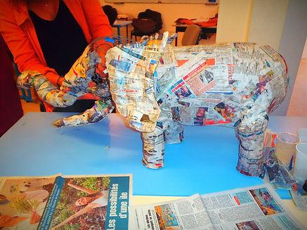 éléphant papier arts plastiques artistiques récup journal