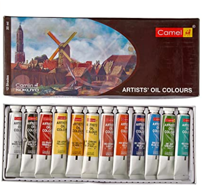 Camel Artist's Oil Color Box - 9ml Tubes, 12 Shades
