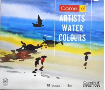 Camel Artist's Water Color Box - 9ml Tubes, 18 Shades