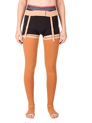 Unisex High Thigh Length Open-toe Compression Cotton Stockings