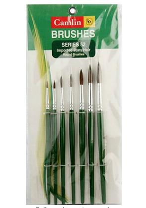 Camel Camlin Kokuyo Paint Brush Series 52 - Round Pony Hair, Set of 7