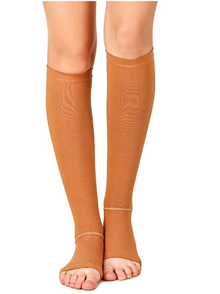 Unisex Knee Length Open-toe Compression Cotton Stockings