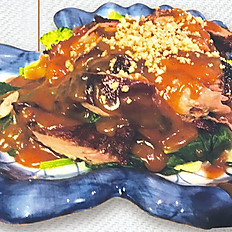 Deep fried Duck Breast with Peanut Sauce