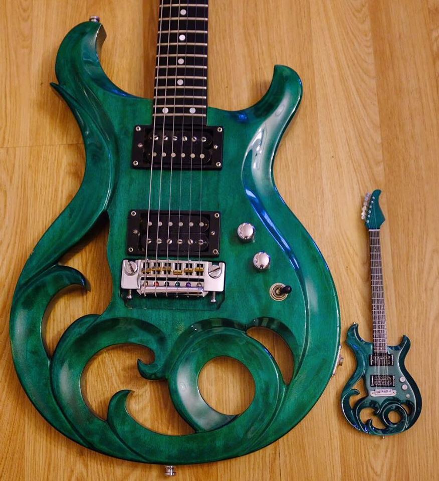 Elvidge Mean Green Phoenix Machine and Miniature Scale Model Guitar