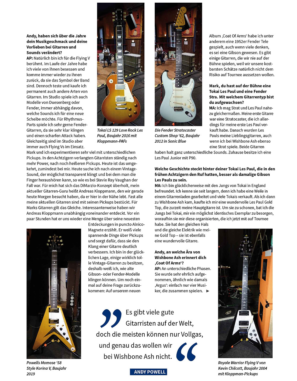 mark abrahams andy powell featured in german magazine gitarre and bass, guitar gear interview
