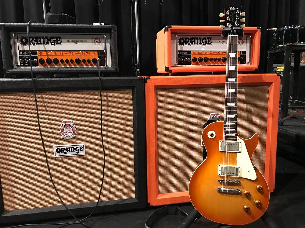 Tokai Love Rock LS128vf Mark Abrahams of Wishbone Ash in Japan with Orange Amplifiers