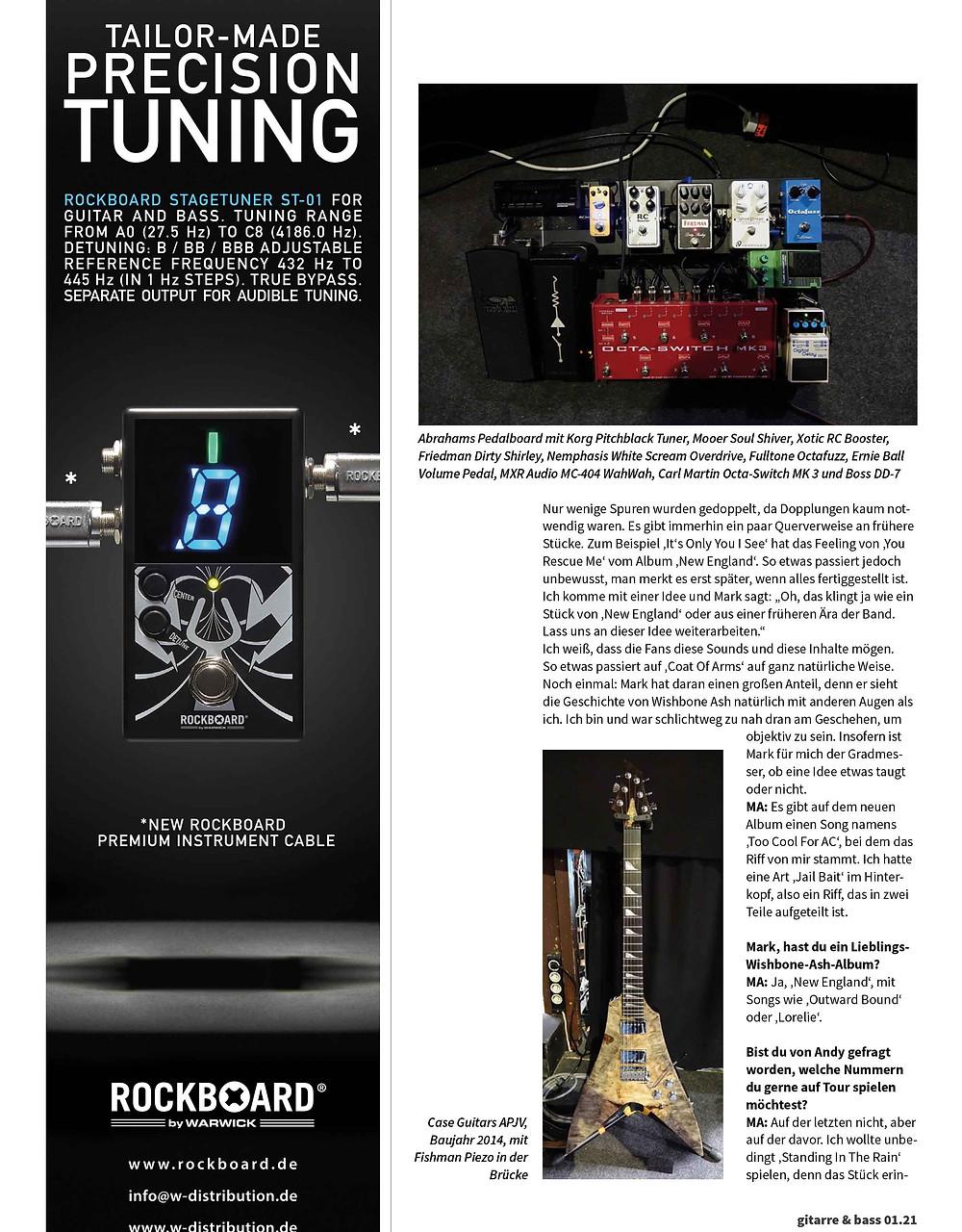 mark abrahams wishbone ash interview gitarre and bass magazine germany, tokai guitars and pedalboard
