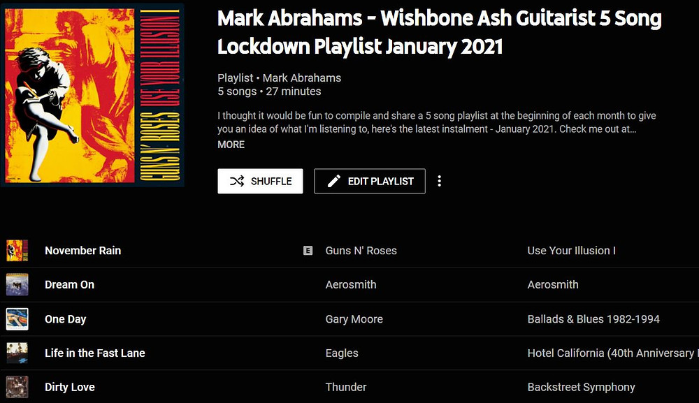 Mark Abrahams Guitarist 5 song Playlist January 2021