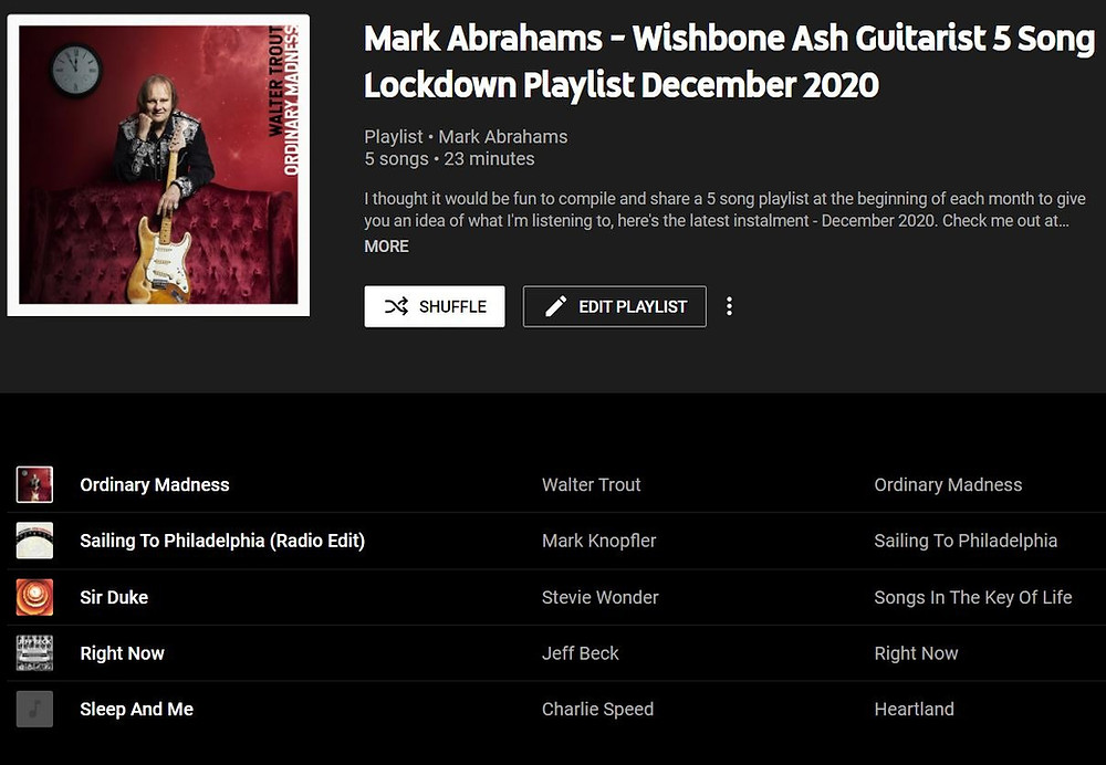 Mark Abrahams Youtube Music 5 Song Lockdown Playlist December 2020