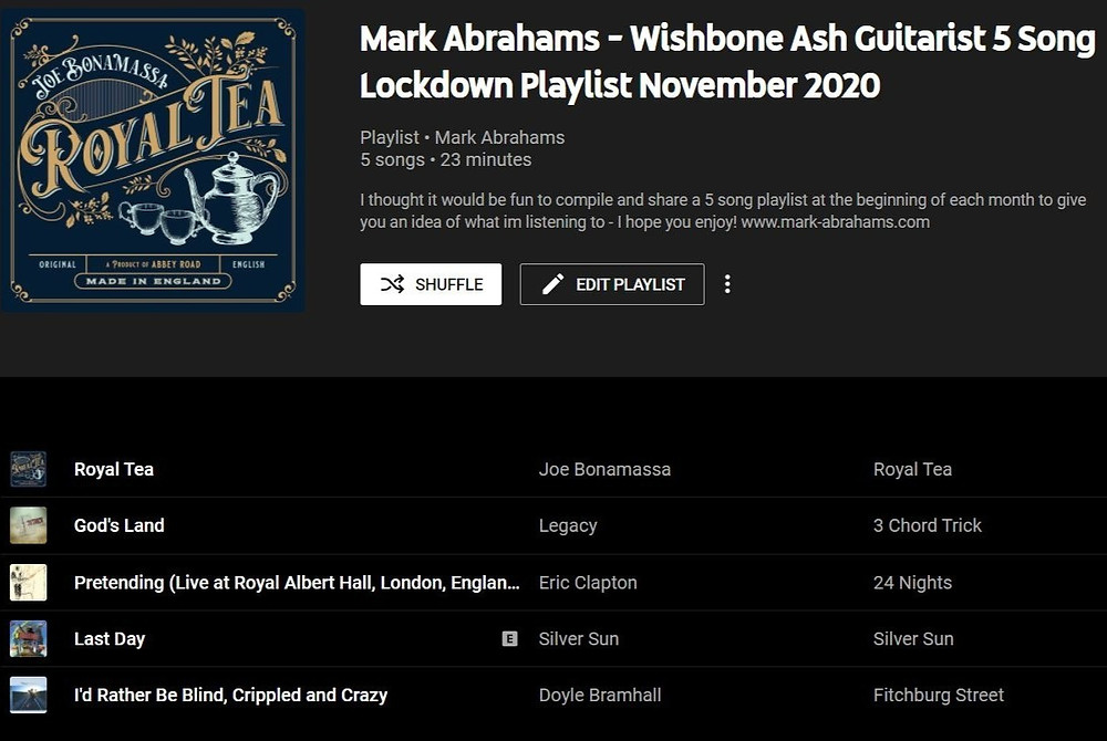 Mark Abrahams Wishbone Ash 5 song lockdown youtube playlist November 2020