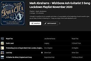 YouTube Music 5 Song Playlist - November 2020