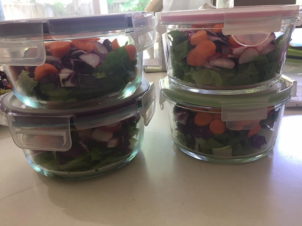 four base salads ready to go!