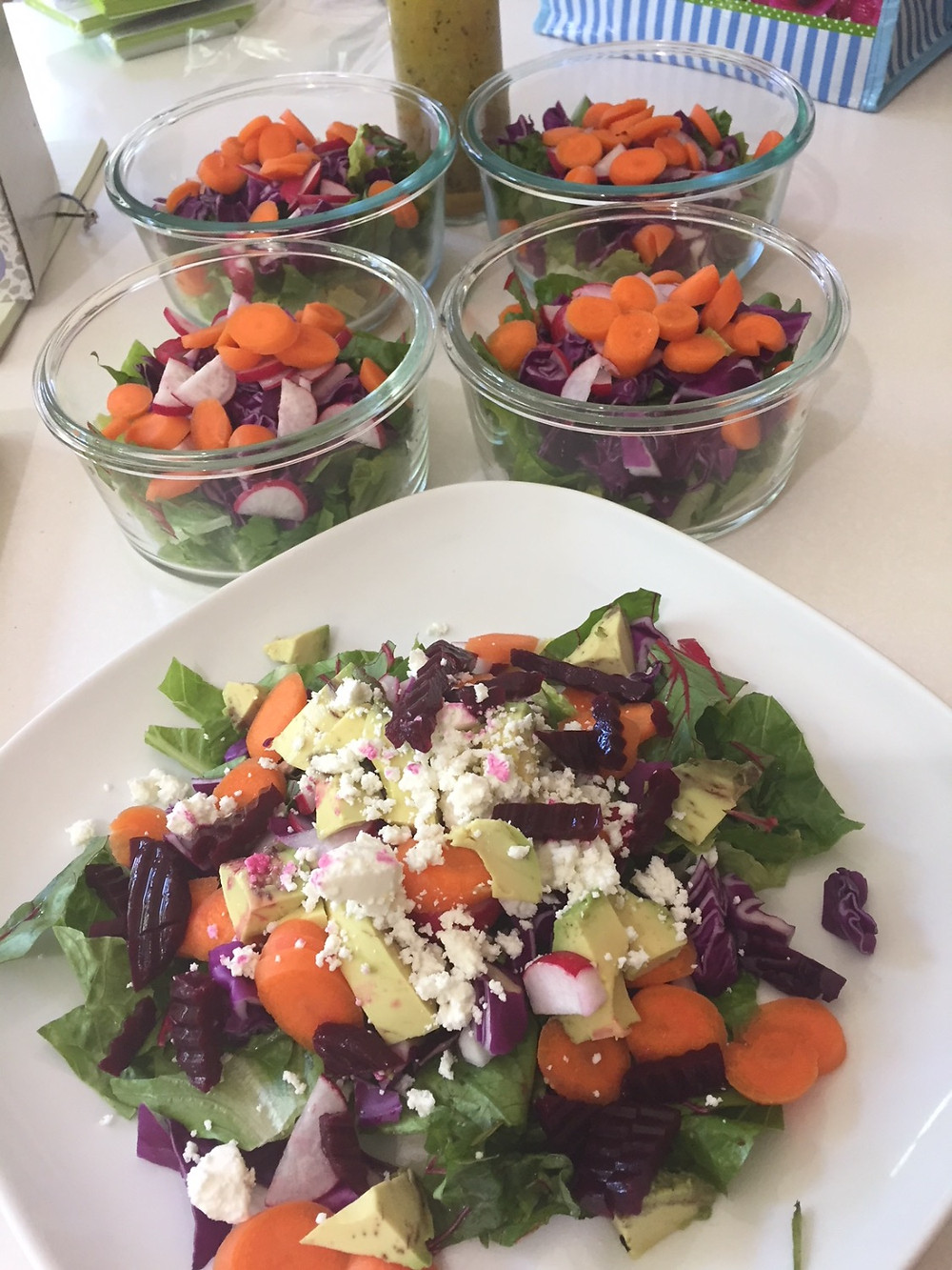 four base salads and one to eat now!