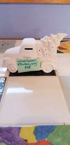 Vintage truck with tree votive holder