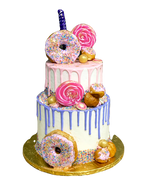 #150 - 2 Tiers donuts and Candy Theme