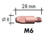 Stromdüse E-Cu M6 x 28 mm Ø1,6 MB 401/501 10 Stück