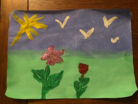 Peinture florale par Jullia, 4 ans