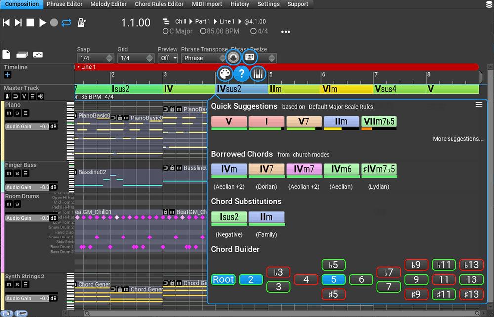 Advanced chord interface