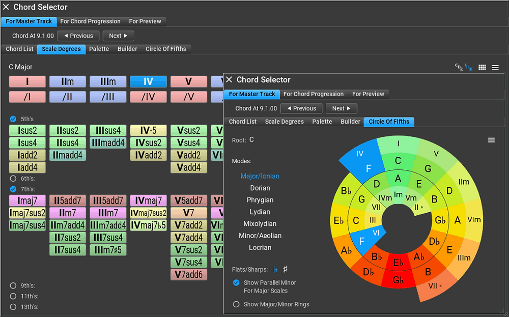 Chord selector interface