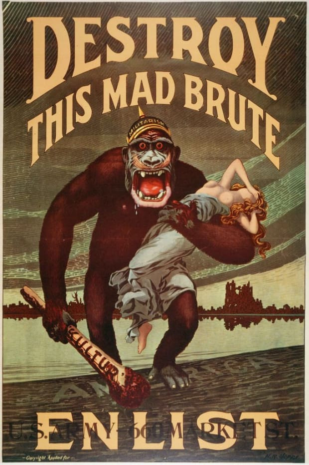 World War I US Army enlistment poster 'Destroy this Mad Brute'. (Credit: Photo12/UIG via Getty Images)