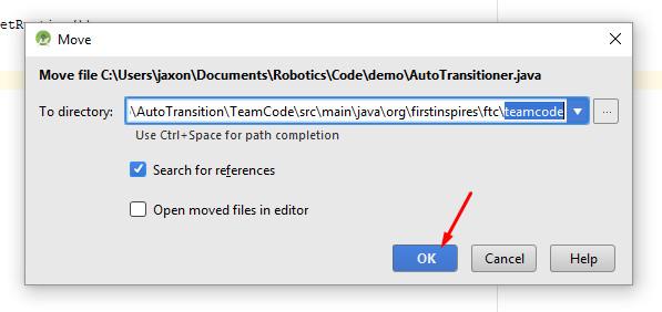 Move the  java file