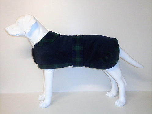 Navy Tartan Trim fleece coat with Optional Bows From £12.50