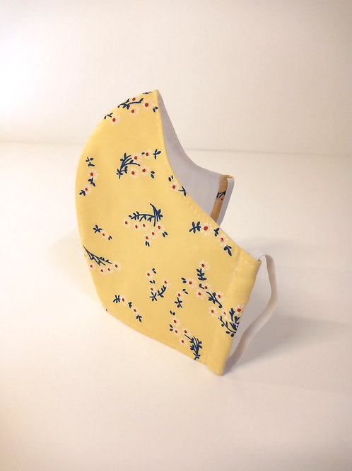 100% Cotton Face Mask Yellow Floral